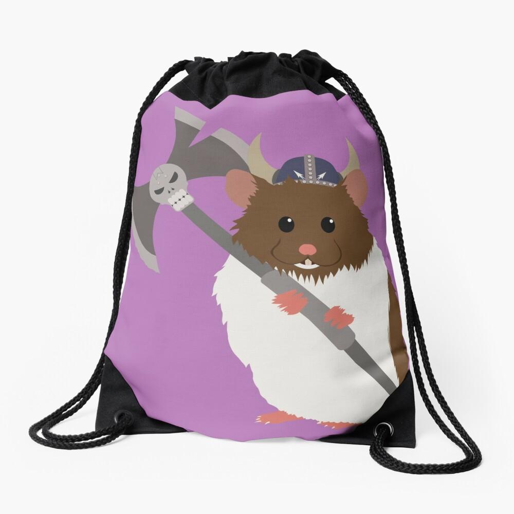 Fluffy Viking Hamster of Death Drawstring Bag Front