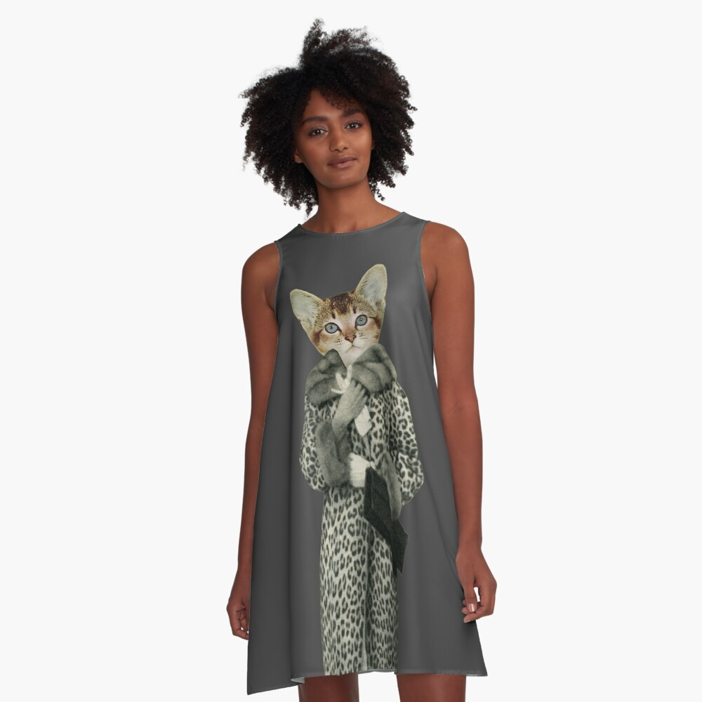 Kätzchen gekleidet als Katze A-Linien Kleid