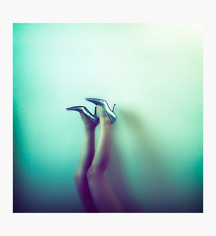 Her Silver High Heels Photographic Print
