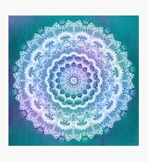 White Mandala on Teal, Purple and Navy Photographic Print