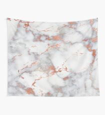 Rose Gold Glitter White Marble Wall Tapestry