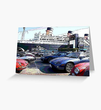Only these cars know the story to the end of their novel about their journey along the famous Route 66! Greeting Card
