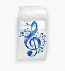 Blue Treble Clef With Music Notes Duvet Cover