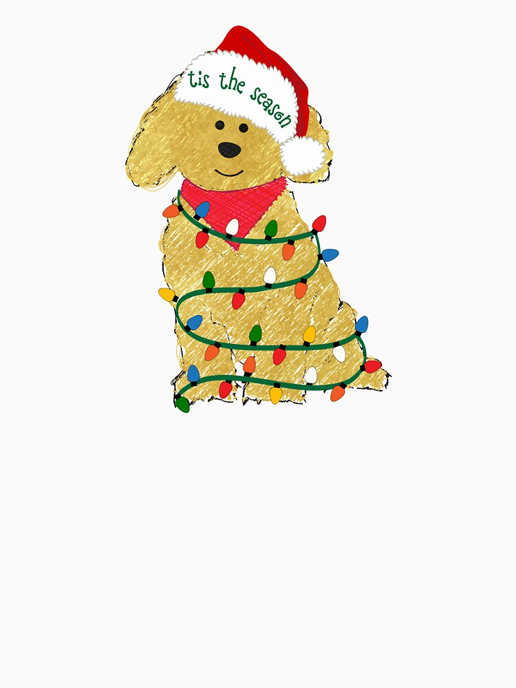 cute christmas golden doodle puppy by emrdesigns
