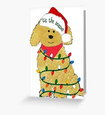Cute Christmas Golden Doodle Puppy Greeting Card