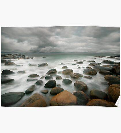stormy stone beach Poster