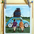 The Big Trip - Vintage polaroid still life painting by LindaAppleArt