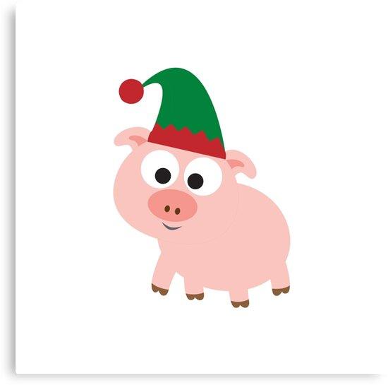Christmas Pig.Christmas Pig Elf Canvas Print By Eggtooth
