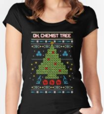 Oh Chemist Tree Ugly Christmas Sweatshirt Women's Fitted Scoop T-Shirt