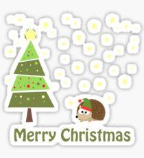 Pegatina Escena de Navidad lindo erizo