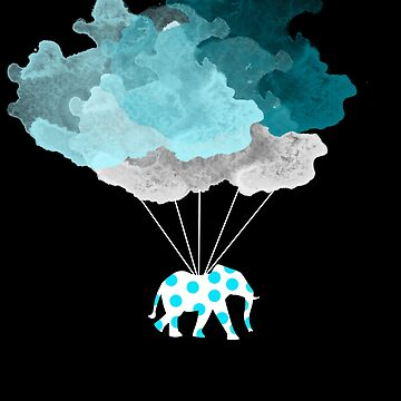 Elephant in the Clouds Polka Dot Hipster Design by tjstreasury