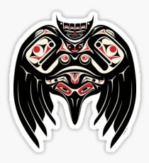Raven Crow in a Pacific North West Style, Native American Style Sticker