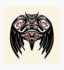 Raven Crow in a Pacific North West Style, Native American Style Photographic Print