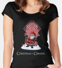 Christmas Is Coming Santa Candy Cane Throne T-Shirt Women's Fitted Scoop T-Shirt