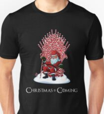 Christmas Is Coming Santa Candy Cane Throne T-Shirt Slim Fit T-Shirt
