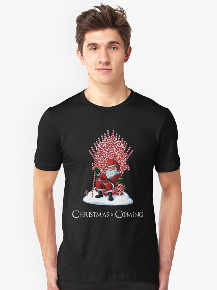 Alternate view of Christmas Is Coming Santa Candy Cane Throne T-Shirt Slim Fit T-Shirt