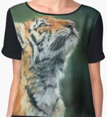 Young Tiger Looking Up Women's Chiffon Top