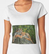 Tiger Resting On Rock Women's Premium T-Shirt