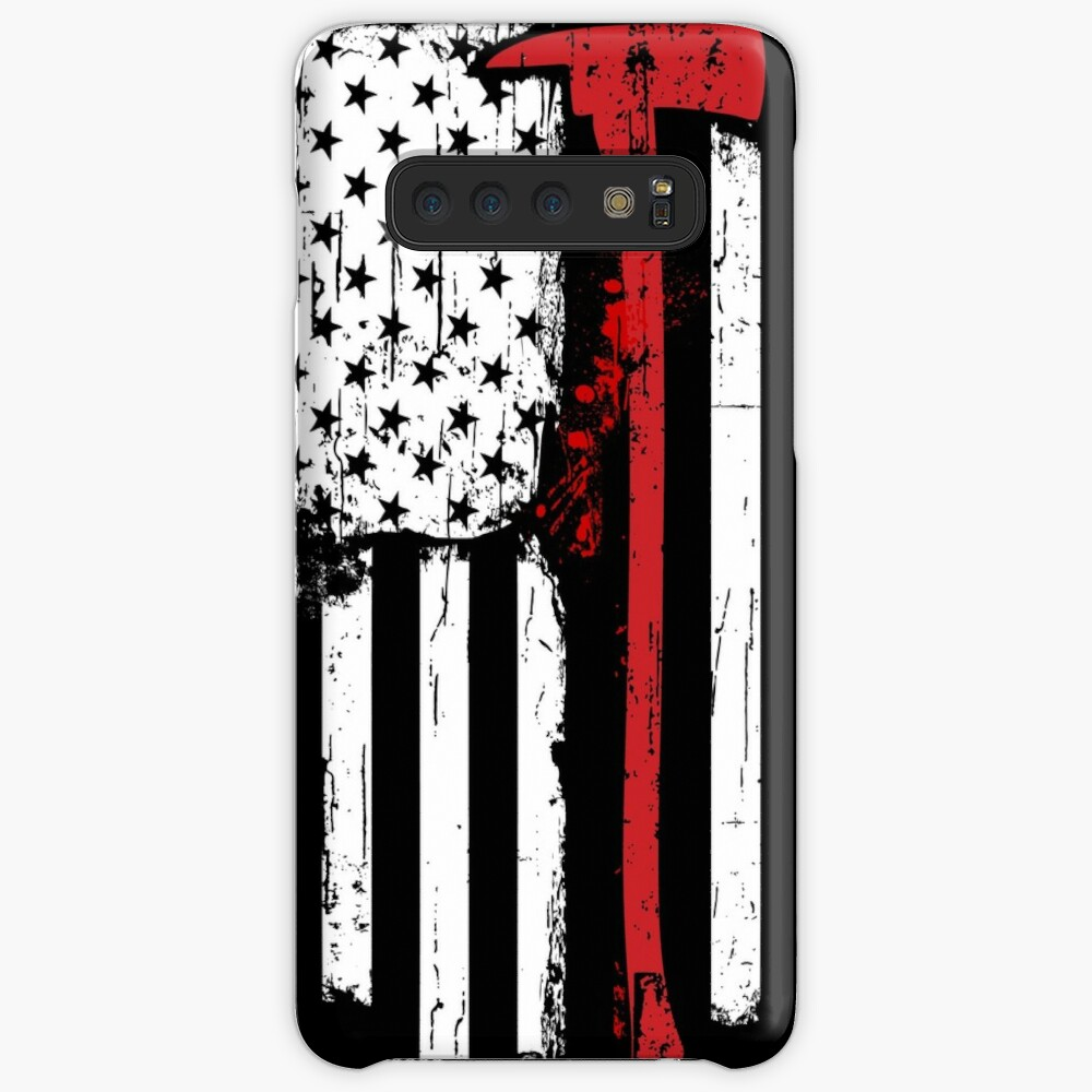 Feuerwehrmann Red Line American Flag mit Feuerwehrmann Axe Hüllen & Klebefolien für Samsung Galaxy
