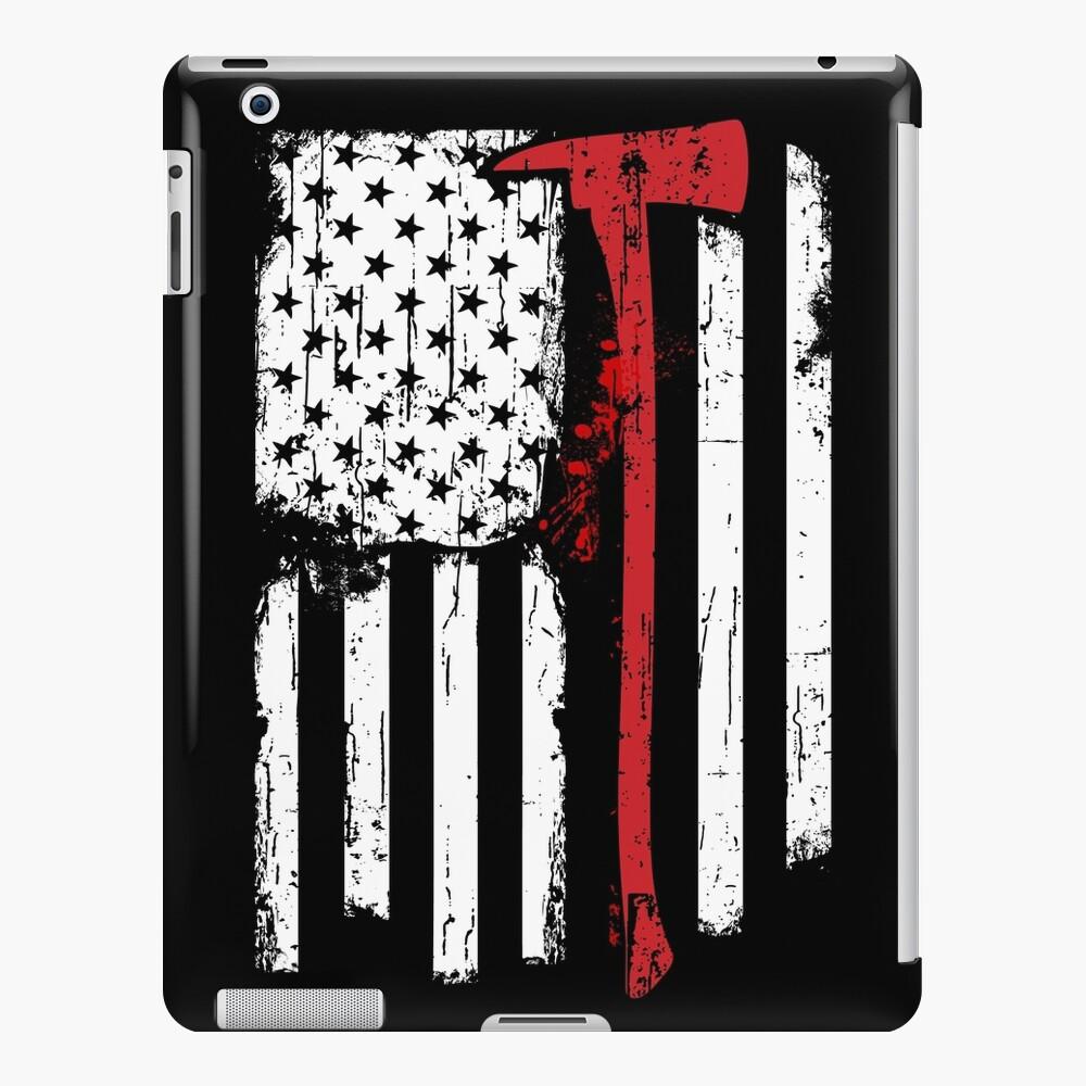 Feuerwehrmann Red Line American Flag mit Feuerwehrmann Axe iPad-Hülle & Skin