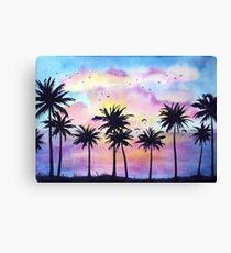 Tropical purple sunset Canvas Print