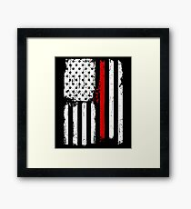 Red Line Firefighters American Flag Graphic Framed Print