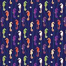 Seahorses - purple, green and terracotta on navy - Sealife pattern by Cecca Designs by Cecca-Designs