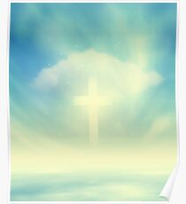 Christian Glowing Cross Poster