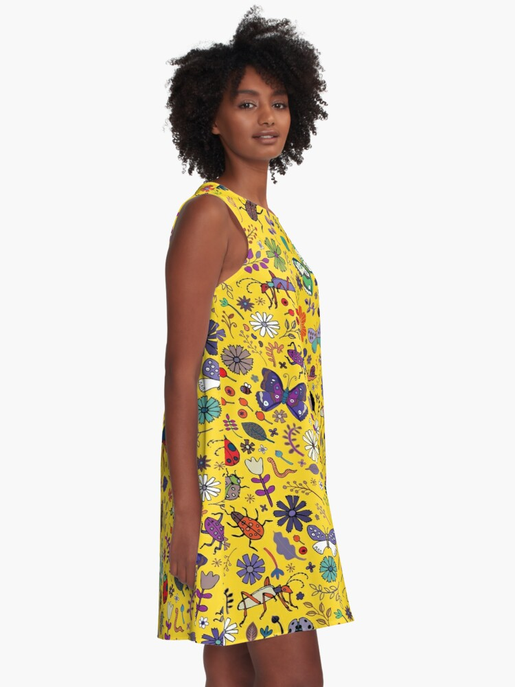 Alternate view of Butterflies, beetles and blooms - Yellow - pretty floral pattern by Cecca Designs  A-Line Dress