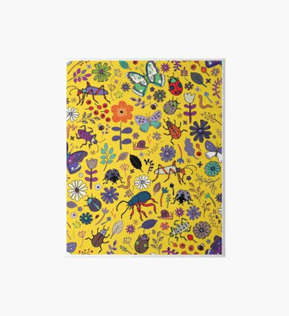 Butterflies, beetles and blooms - Yellow - pretty floral pattern by Cecca Designs  Art Board