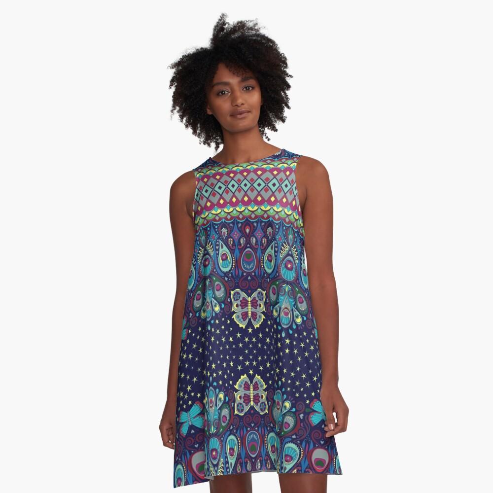 Midnight butterflies - Bohemian pattern by Cecca Designs A-Line Dress