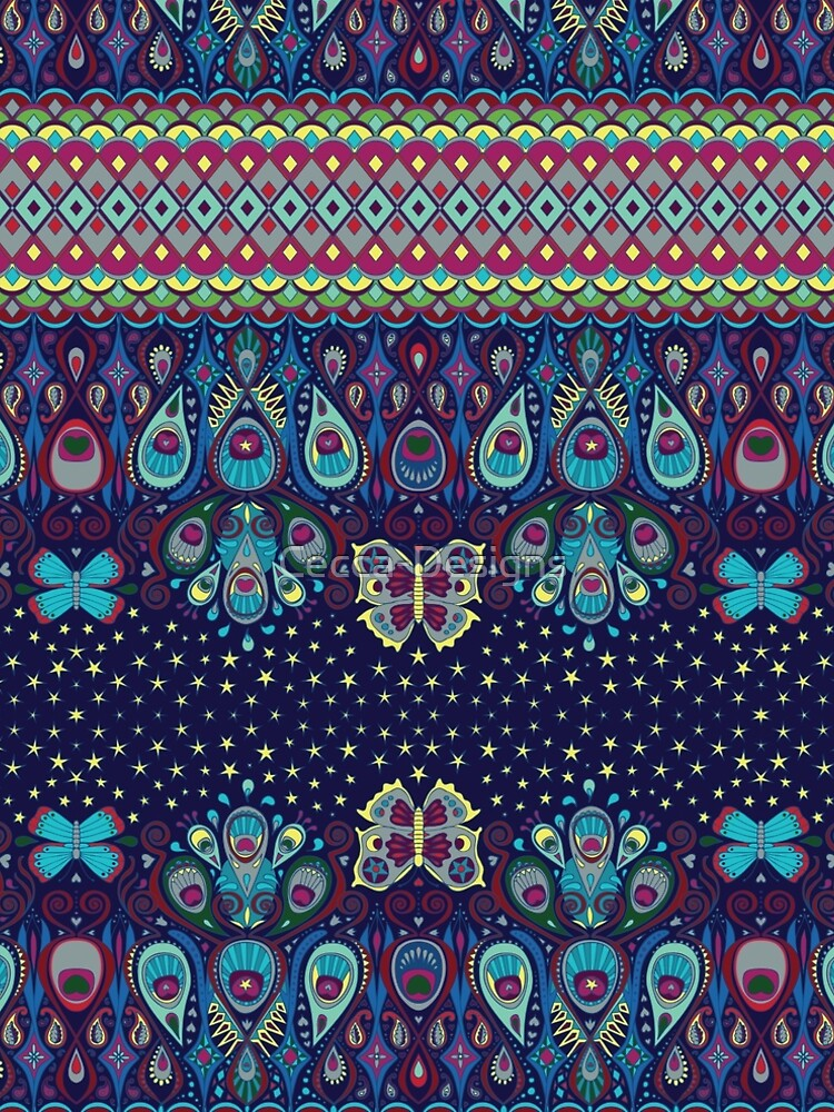 Midnight butterflies - Bohemian pattern by Cecca Designs by Cecca-Designs
