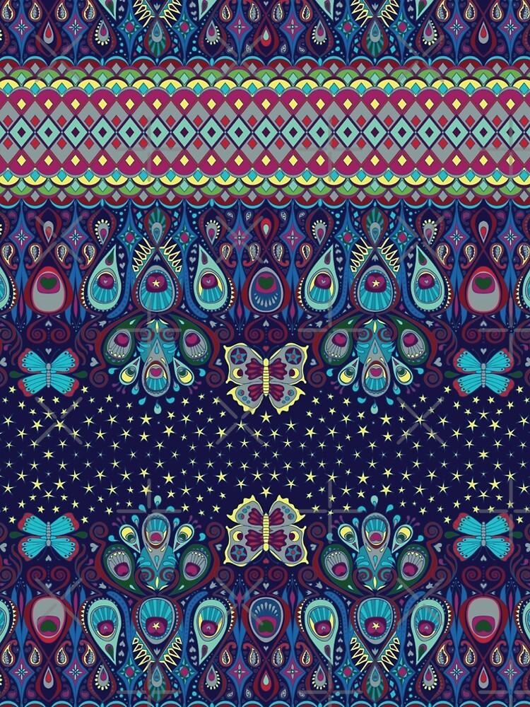 Midnight butterflies - Bohemian pattern by Cecca Designs by Cecca-Designs