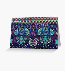 Midnight butterflies - Bohemian pattern by Cecca Designs Greeting Card