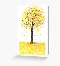 fallende goldene Ginkgoblätter Grußkarte