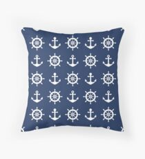 Ships Wheel and Anchor on Navy Blue Throw Pillow