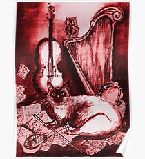 MUSICAL CAT AND OWL  WITH MUSIC INSTRUMENTS  Red White Collection Poster