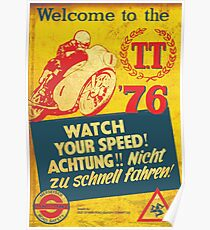 1976 TT Vintage motorcycle races Poster
