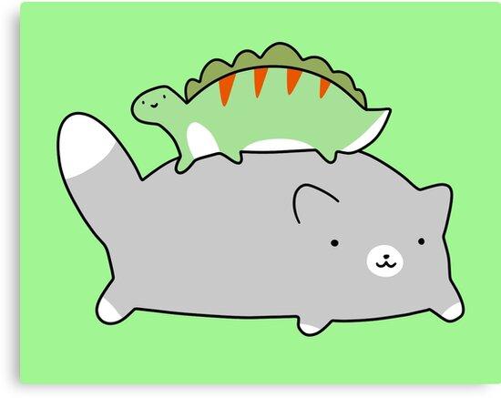 Blue Cat and Tiny Stegosaurus  by SaradaBoru