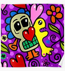 Hand Drawn Wacky Skull Doodle Pattern Poster