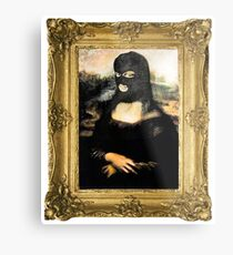 Funny Masked Mona Lisa T-Shirt Metal Print