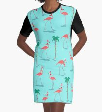 1e0efe9a0307 Christmas Flamingos Pattern Graphic T-Shirt Dress