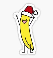 Banana Santa hat celebrating and cheering Christmas Sticker