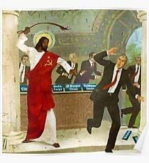 Kommunistischer schwarzer Jesus peitscht Wall Street Banker Poster