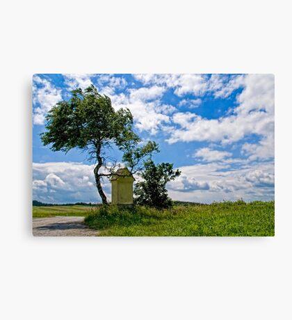 Austrian landscape with little chapel Canvas Print