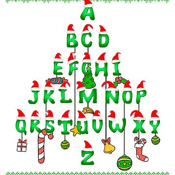 Ugly Sweater Cute Xmas alphabet christmas tree by bestdesign4u