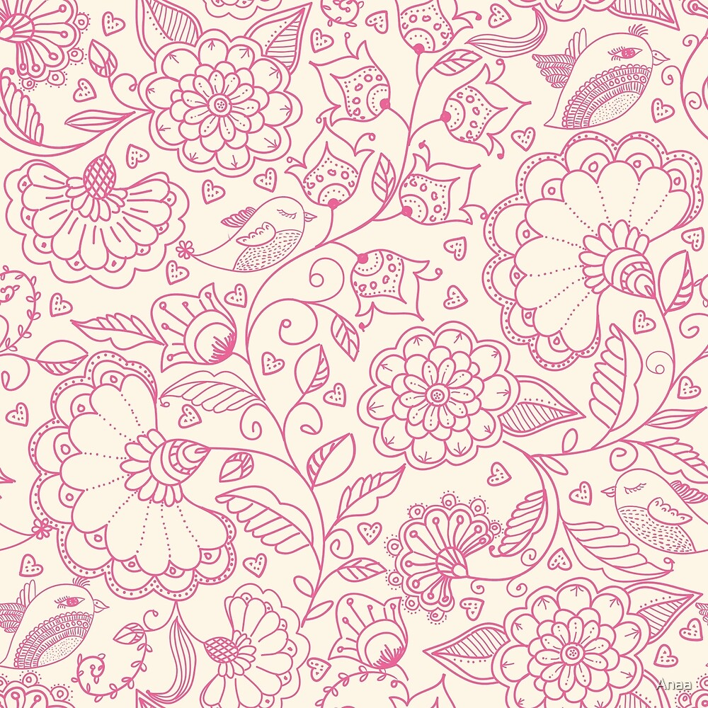 Pink Floral Design by Anaa