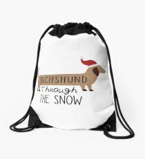 Dachshund Through The Snow Drawstring Bag