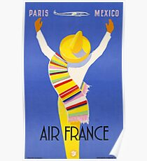 1954 Air France Paris To Mexico Travel Poster Poster