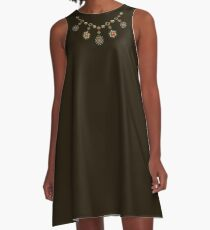 Ethnic Necklace ( Gold Jewelry ) A-Line Dress
